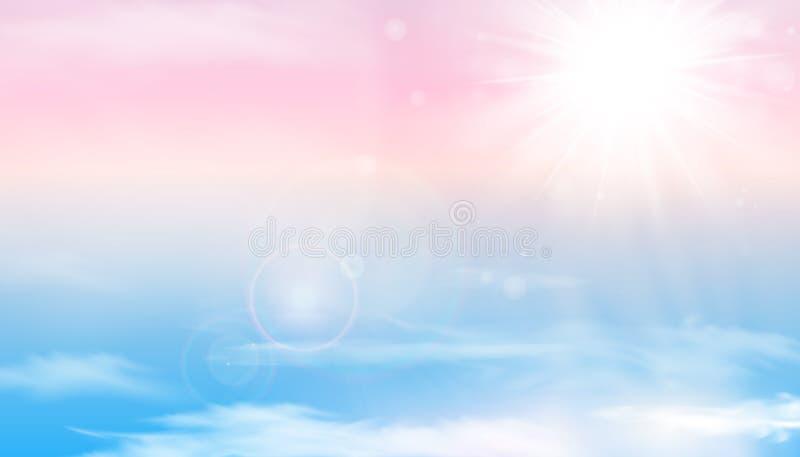 Zon en wolkenachtergrond met een zachte pastelkleur De pastelkleurachtergrond van de fantasie magische zonnige hemel met kleurrij vector illustratie