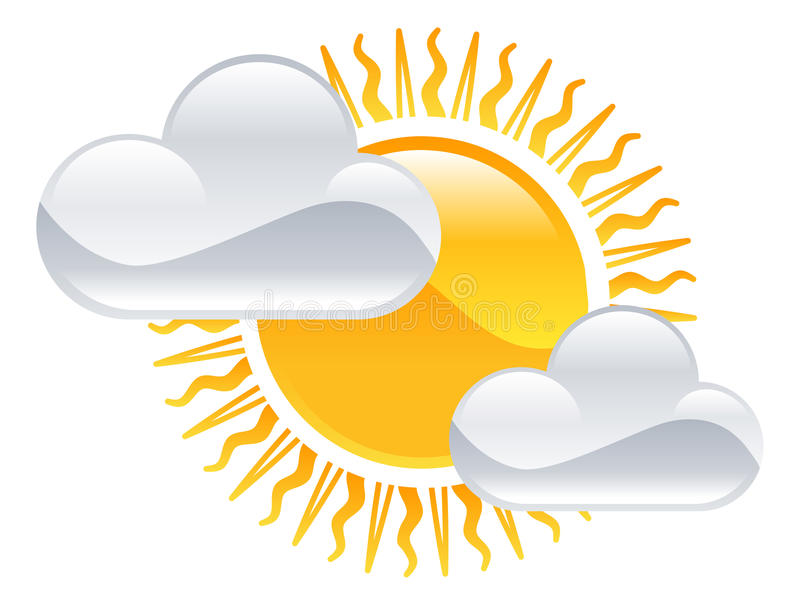 Zon en wolkenpictogram vector illustratie