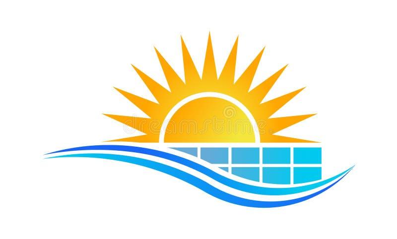Zon en zonnepaneelembleem stock illustratie