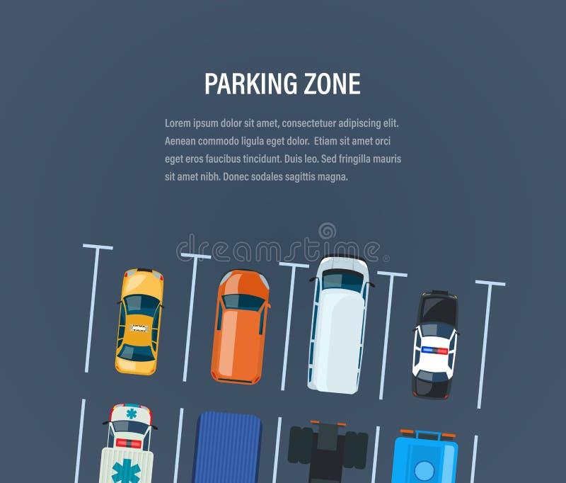 Zon för stadsbilparkering Bästa sikt av parkeringsplatsen, utrymme vektor illustrationer