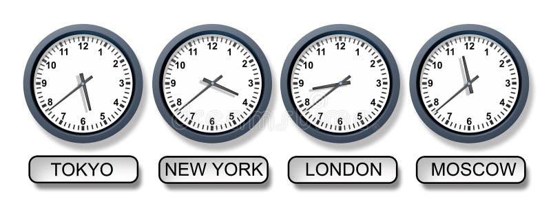 zon för värld för klockatid royaltyfri illustrationer