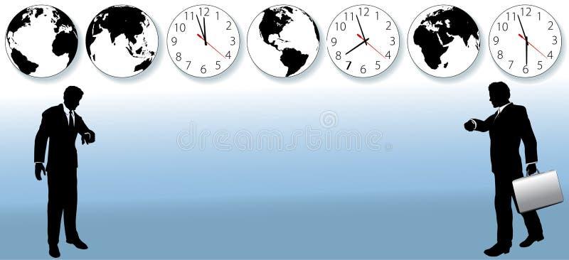 zon för värld för lopp för tid för affärsklockafolk stock illustrationer