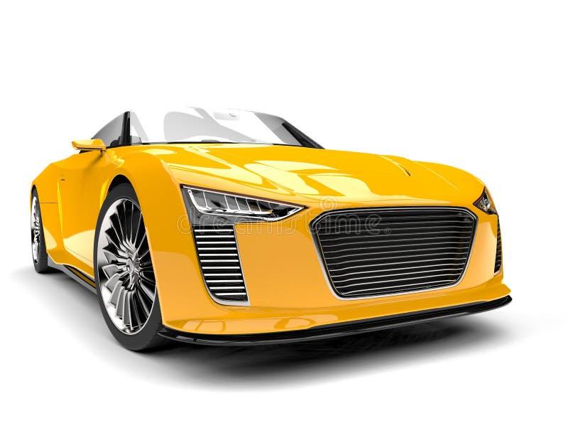 Zon gele moderne convertibele sportwagen stock illustratie