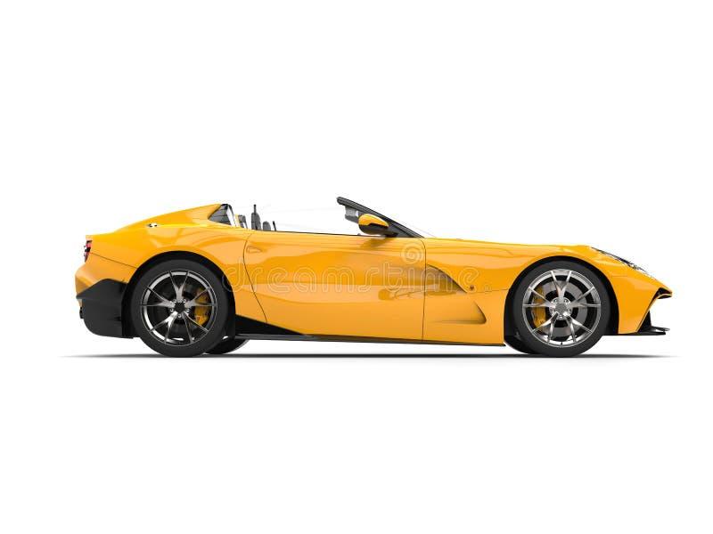 Zon gele moderne convertibele super sportwagen - zijaanzicht stock illustratie