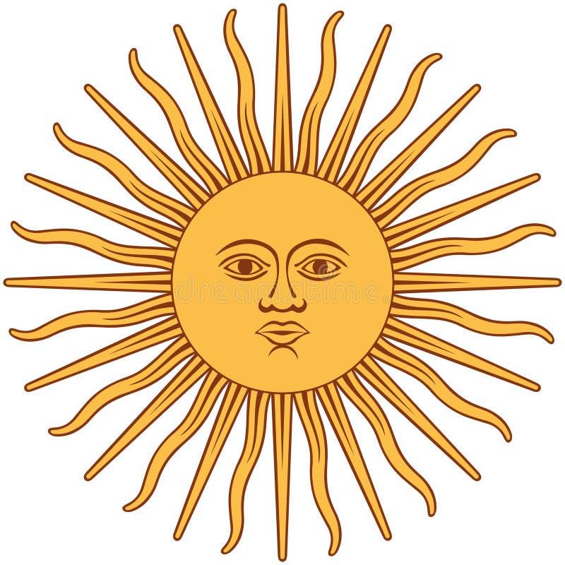 Zon grafisch teken De Inca-god van de zon stock illustratie