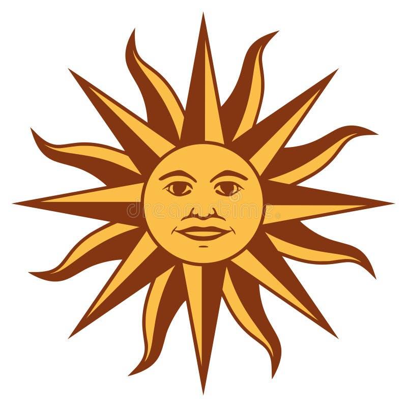 Zon grafisch teken De Inca-god van de zon vector illustratie