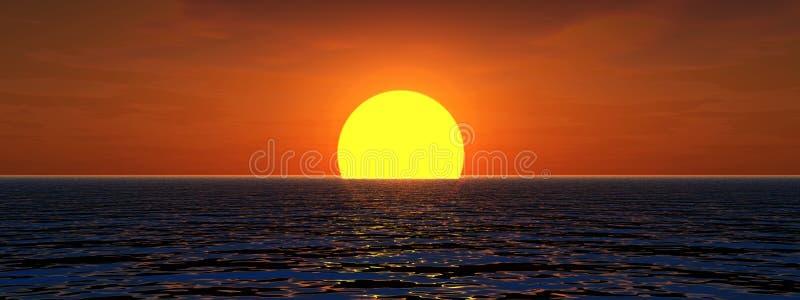 Zon in het Overzees vector illustratie
