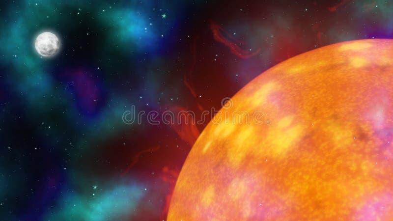 Zon, Maan en Sterren stock illustratie