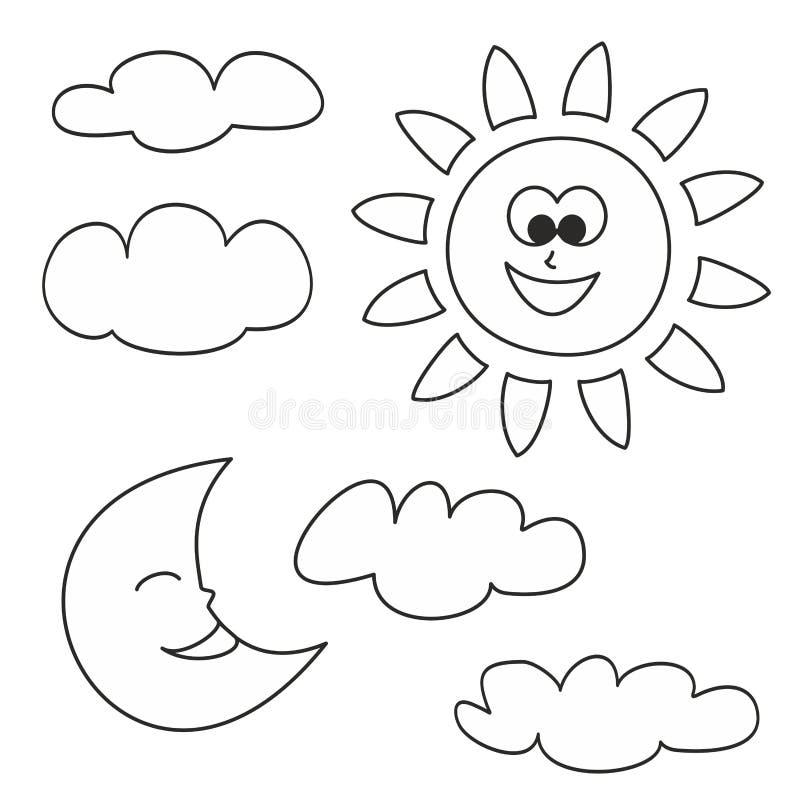 Zon, maan en wolken vectordiepictogrammen op witte achtergrond worden geïsoleerd royalty-vrije illustratie