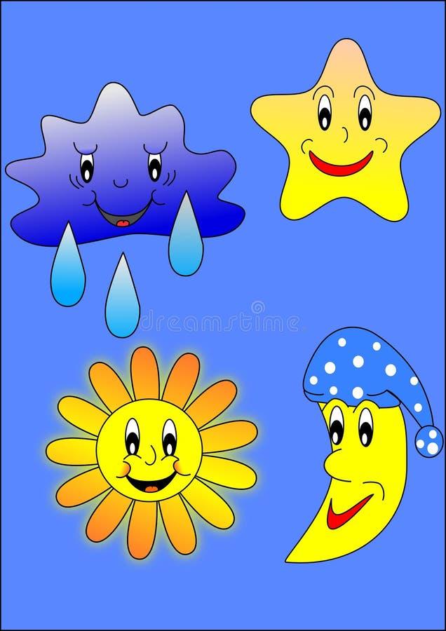 Zon, maan, ster en wolk stock illustratie