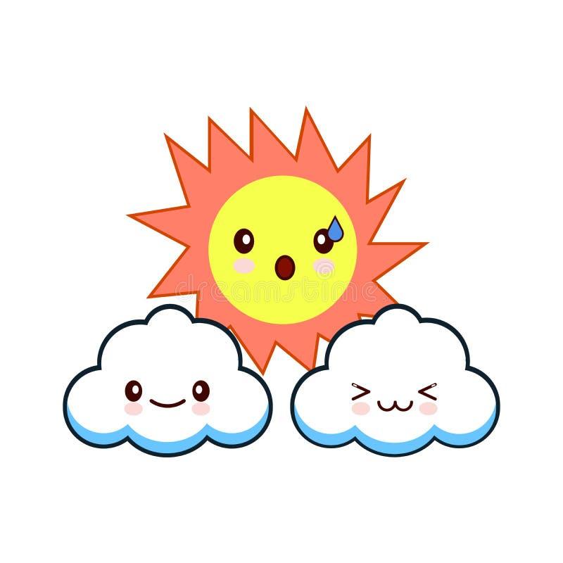 Zon met gezicht en wolken die vectorillustratie graveren Vlakke stijl vectorillustratie stock illustratie