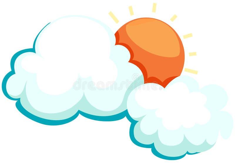 zon met wolk vector illustratie