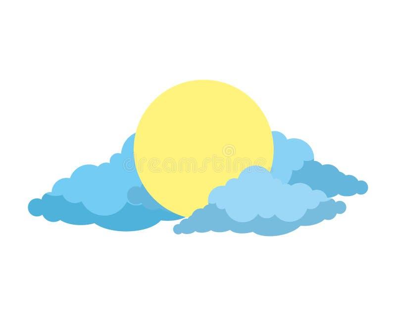 Zon met wolkenpictogram stock illustratie