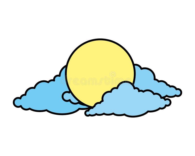 Zon met wolkenpictogram royalty-vrije illustratie