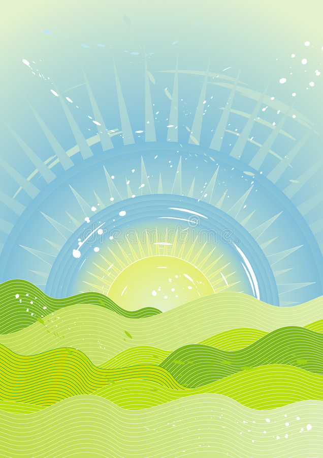 Zon op de hemel, vector   vector illustratie
