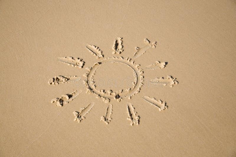 Zon op het zand stock fotografie