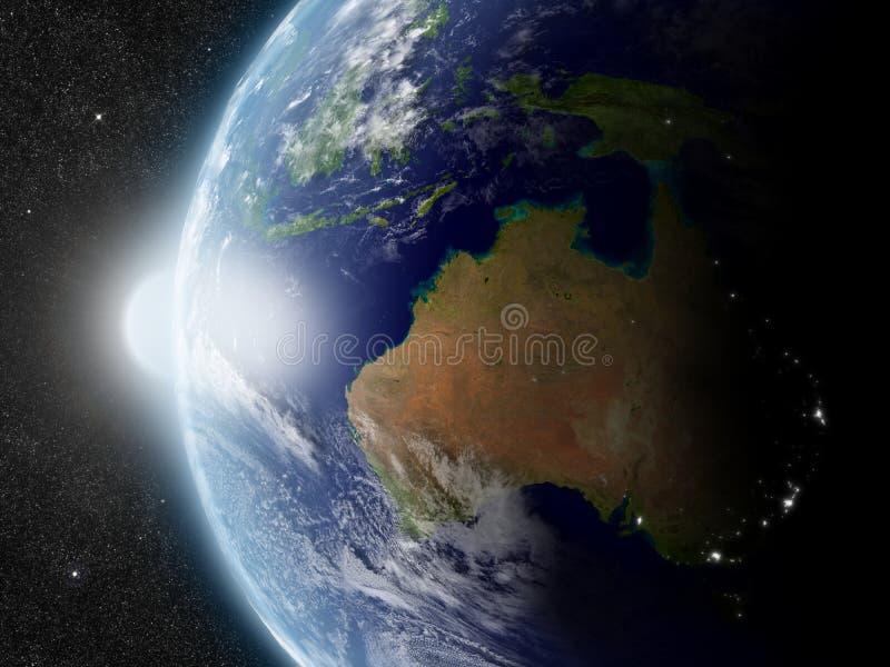 Zon over Australië stock illustratie