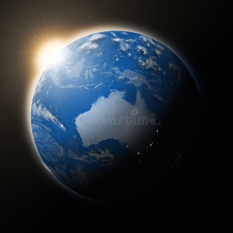 Zon over Australië op aarde vector illustratie