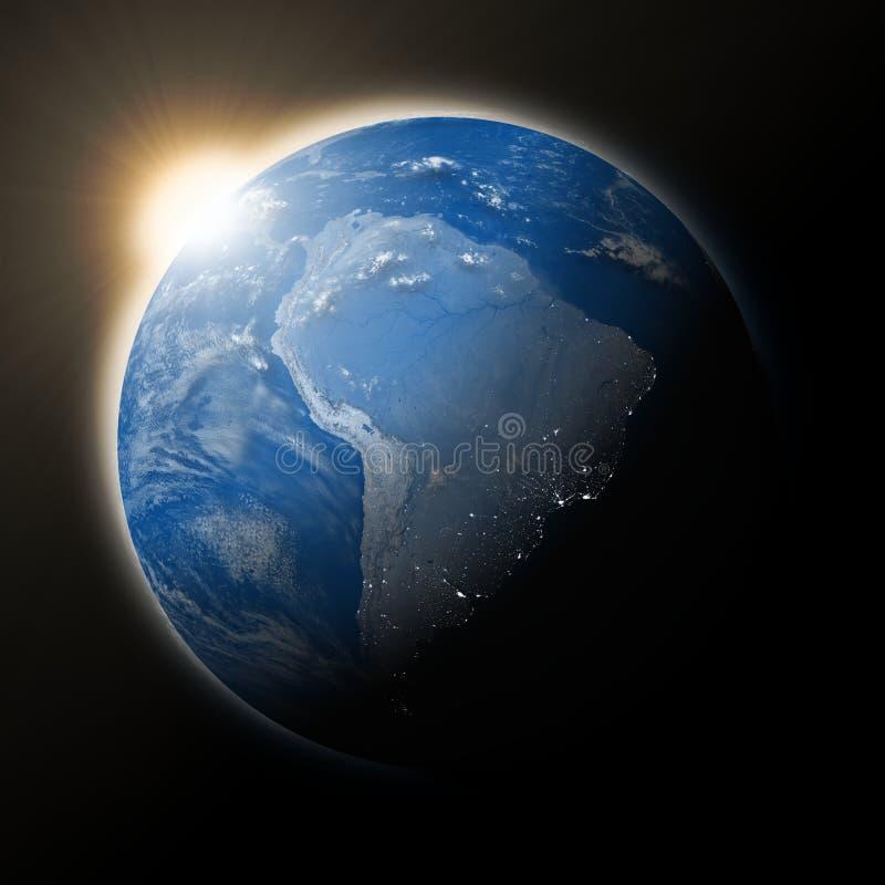 Zon over Zuid-Amerika op aarde stock illustratie
