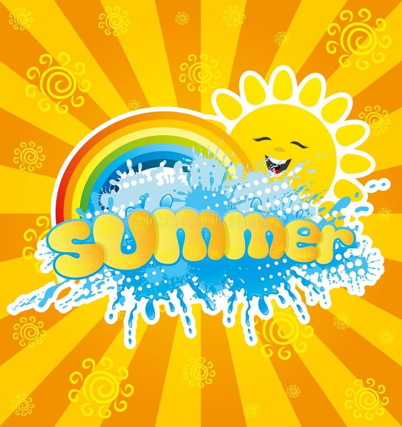 Zon, regenboog en plons van water stock illustratie