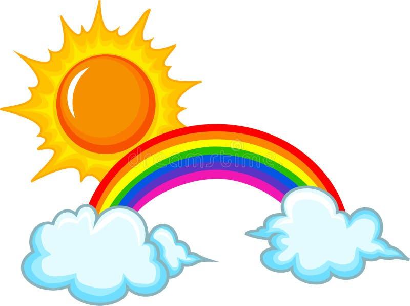 Zon, regenboog en wolk royalty-vrije illustratie