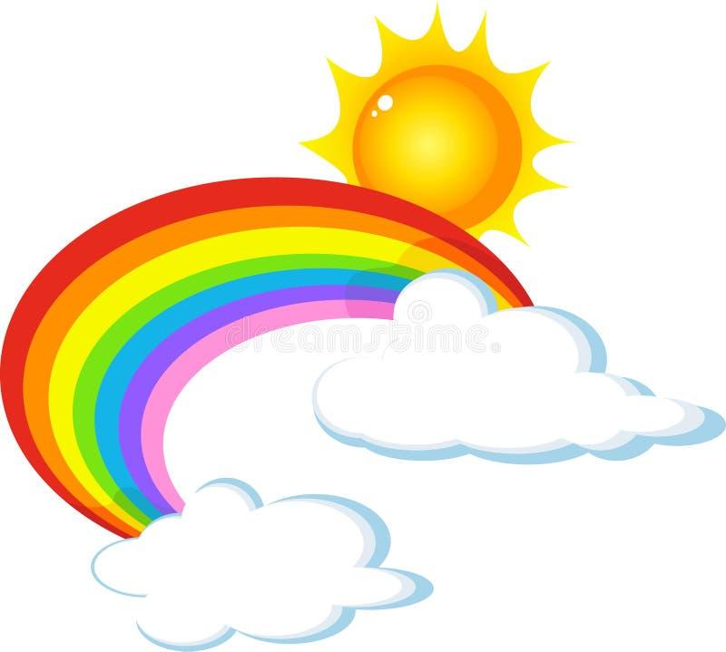 Zon, regenboog en wolk stock illustratie