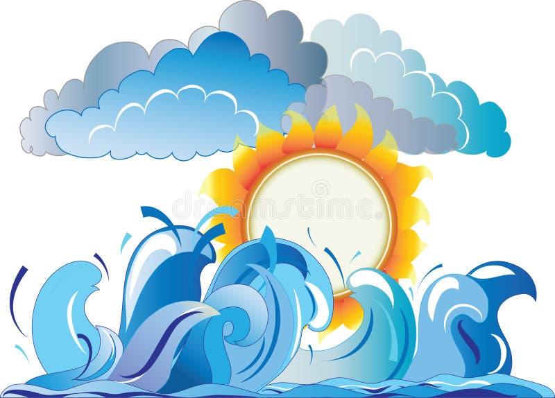Zon tegen de overzeese golven stock illustratie