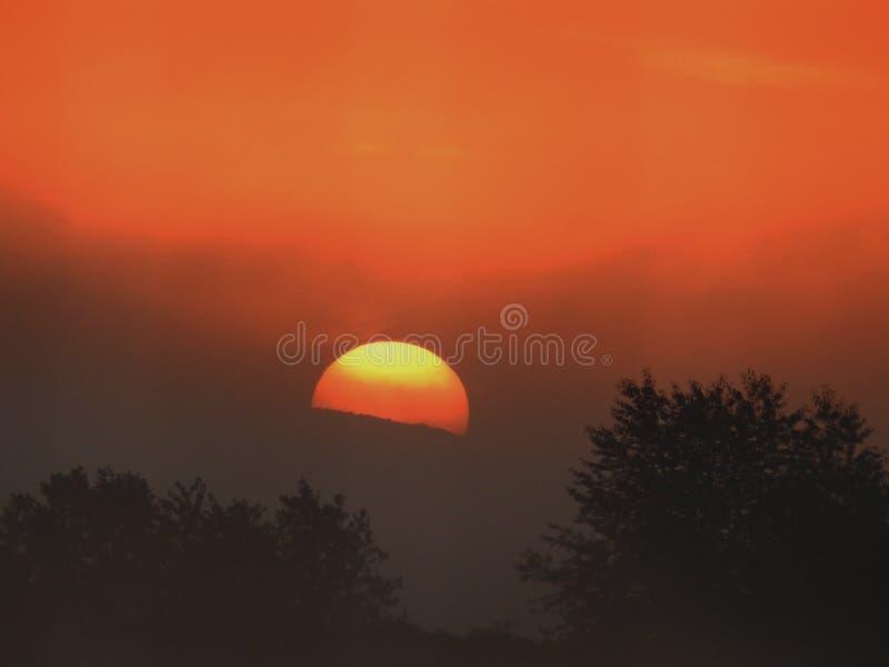 Zon tijdens zonsopgang stock afbeelding