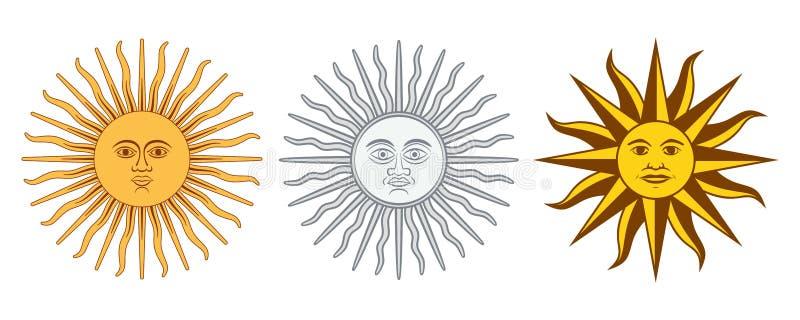 Zon van Mei-variaties, Sol de Mayo, Argentinië, Uruguay royalty-vrije illustratie