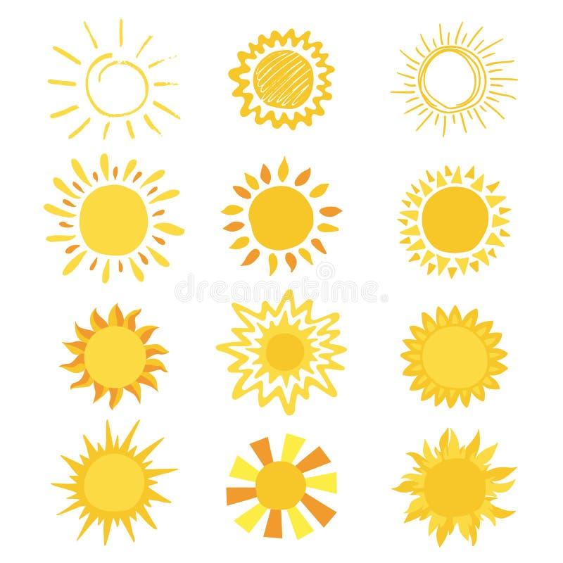 Zon vector zonnig pictogram met gele zonlicht en zonneschijn emoticon illustratiereeks van de heldere zonsondergang van het zonne stock illustratie