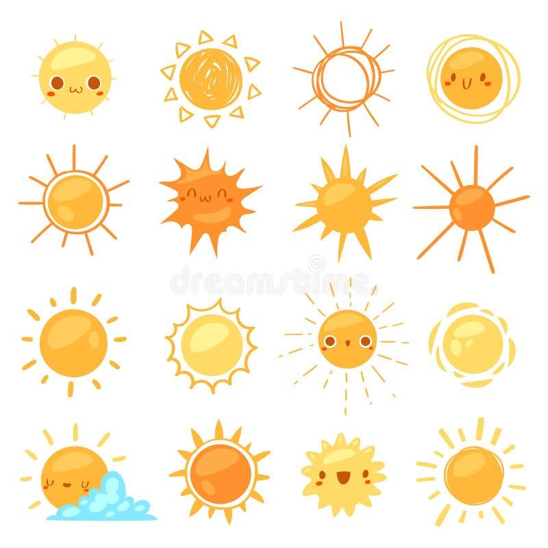 Zon vector zonnig pictogram met gele zonlicht en zonneschijn emoticon illustratiereeks van heldere het tekenzonsondergang van het stock illustratie