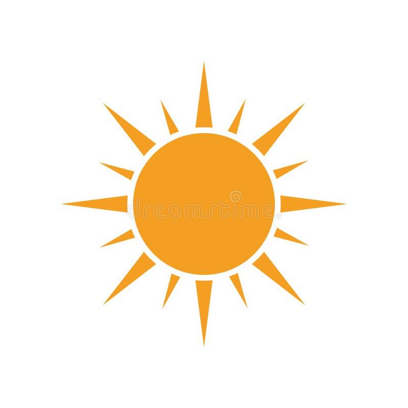 Zon vectorpictogram De illustratie van de de zomerzonneschijn op geïsoleerd wit stock illustratie