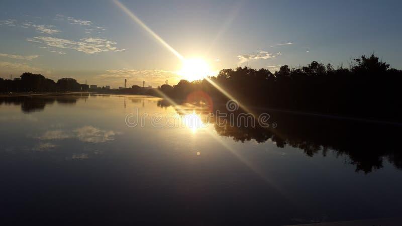 Zon in Water royalty-vrije stock foto's
