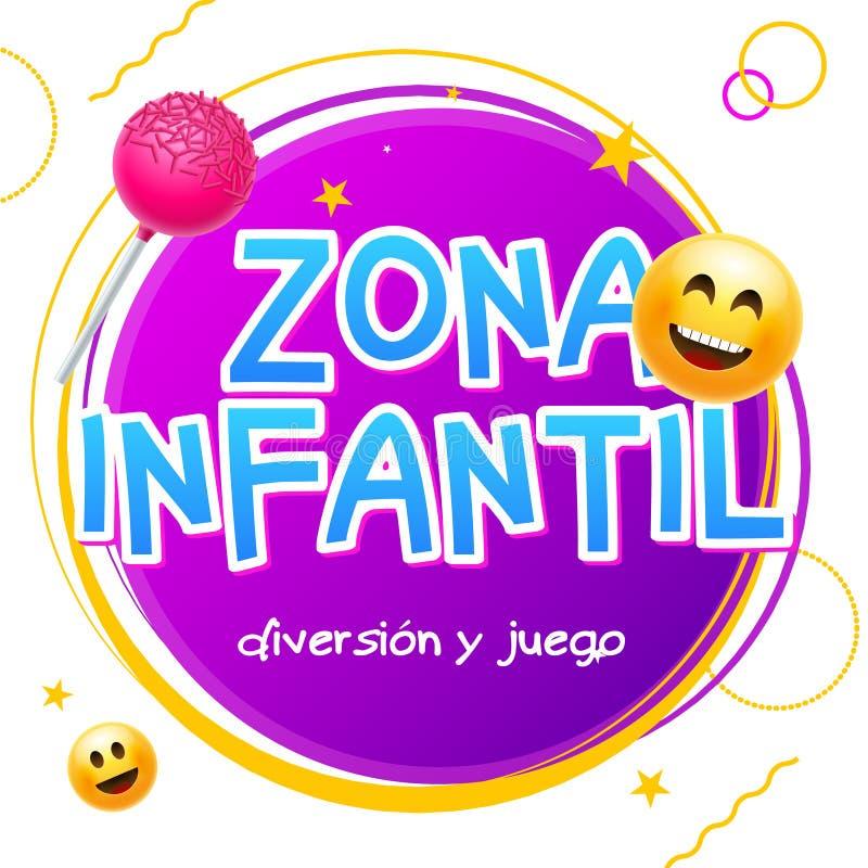 Zona υποβάθρου σχεδίου εμβλημάτων παιχνιδιών ζώνης παιδιών infantil Διανυσματικό σημάδι ζώνης παιδιών παιδικών χαρών στα ισπανικά διανυσματική απεικόνιση