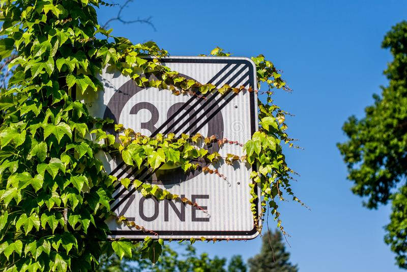 Zona alemão do sinal de estrada 30 - limite de velocidade fotografia de stock royalty free