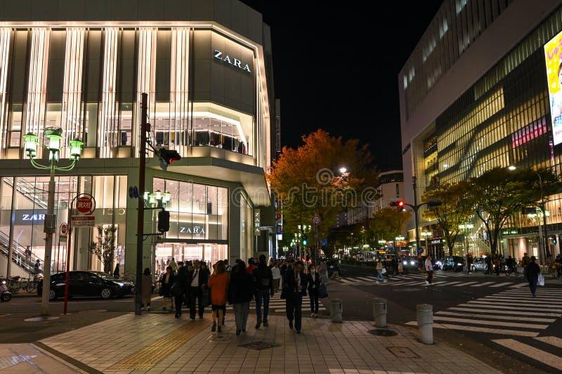 Zona comercial de Sakae, Nagoya (Japón) fotografía de archivo