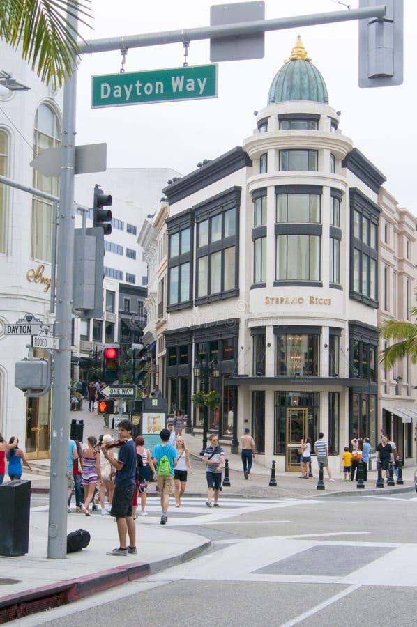 Zona commerciale famosa nell'azionamento Los Angeles Stati Uniti del rodeo fotografia stock