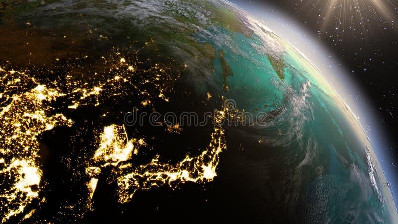 Zona de Ásia Oriental da terra do planeta usando a NASA das imagens via satélite foto de stock