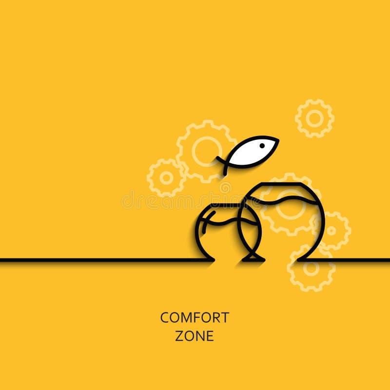 Zona de conforto linear da ilustração do negócio do vetor como o aquário ilustração do vetor