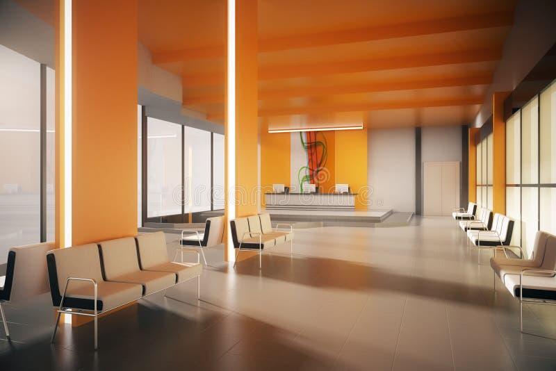 Zona de espera anaranjada de la oficina ilustración del vector
