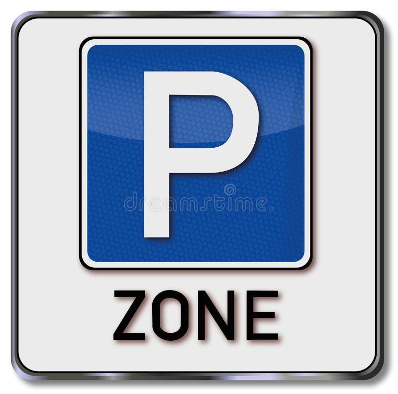 Zona de estacionamento do sinal ilustração stock