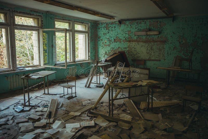 Zona de exclusión de Chornobyl Zona radiactiva en la ciudad de Pripyat - pueblo fantasma abandonado Historia de Chernóbil de la c imagen de archivo libre de regalías