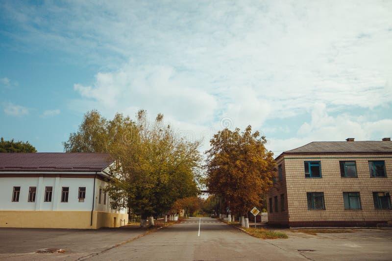 Zona de exclusión de Chornobyl Zona radiactiva en la ciudad de Pripyat - pueblo fantasma abandonado Historia de Chernóbil de la c imagenes de archivo
