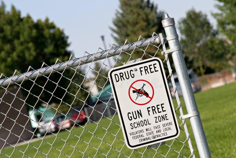 Zona de la escuela libre de la droga y de arma imagenes de archivo