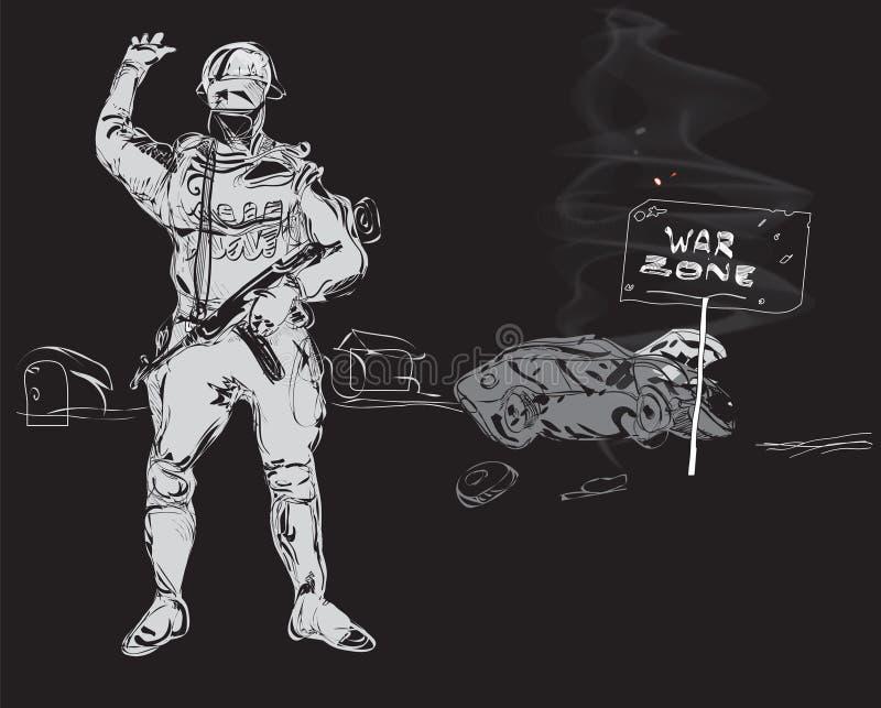 Zona de la guerra stock de ilustración