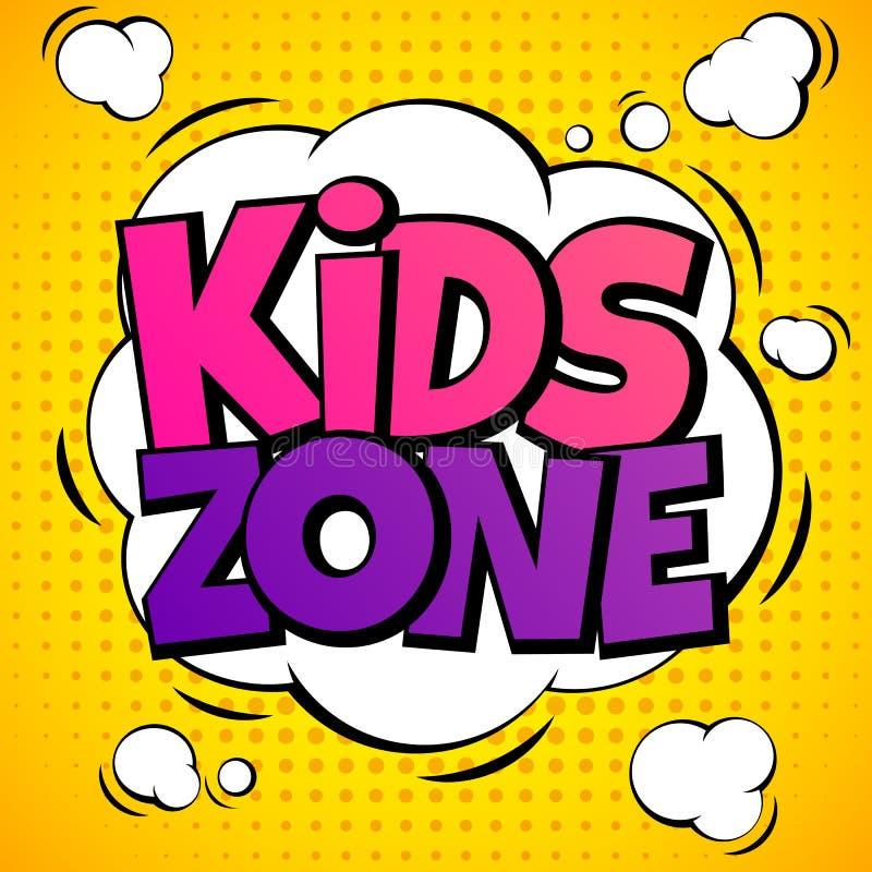 Zona de los niños Etiquetas del patio del juego del niño con las letras de la historieta Los alumnos parquean el fondo del vector ilustración del vector