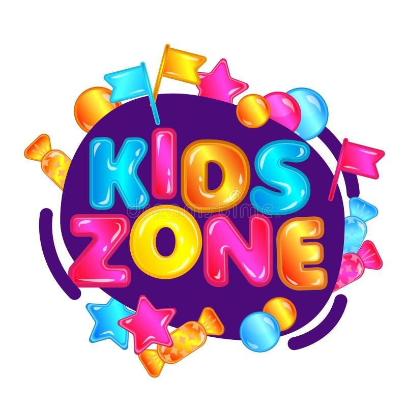 Zona de los niños - muestra colorida del patio del juego con el caramelo, las estrellas y las banderas ilustración del vector