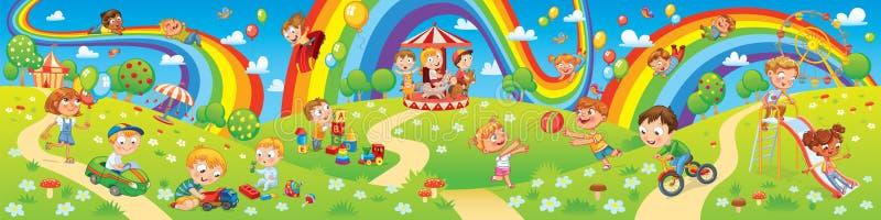 Zona de los niños Paseos del parque de atracciones Niños que juegan en patio ilustración del vector