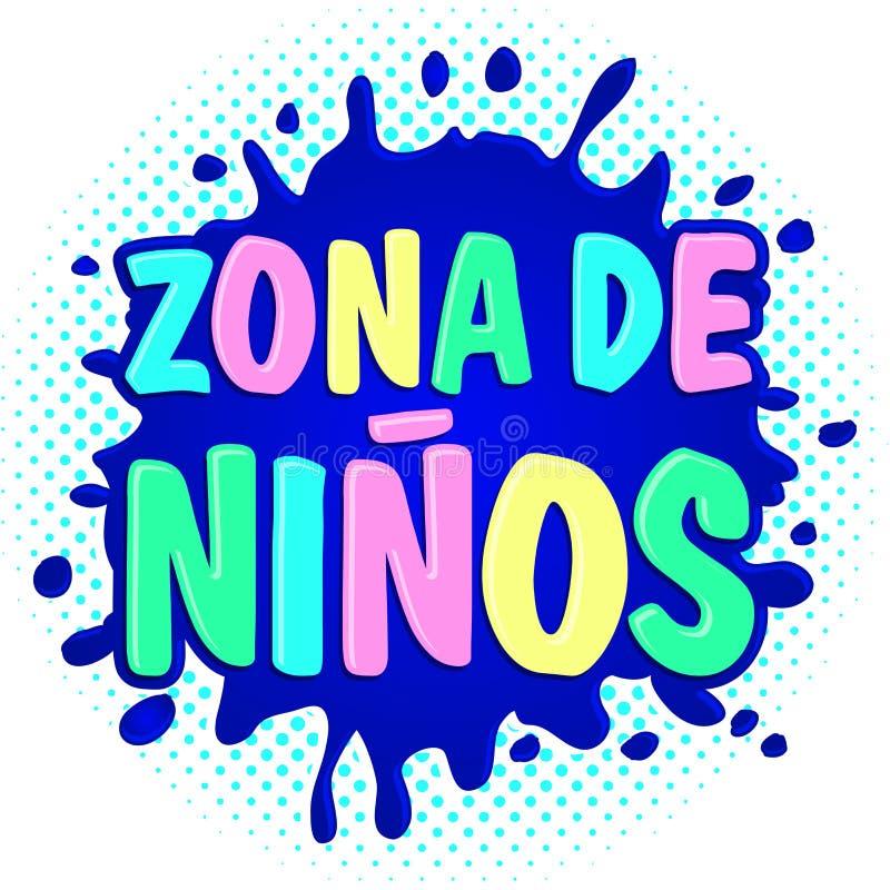 Zona de ninos, niños divide el texto en zonas español stock de ilustración