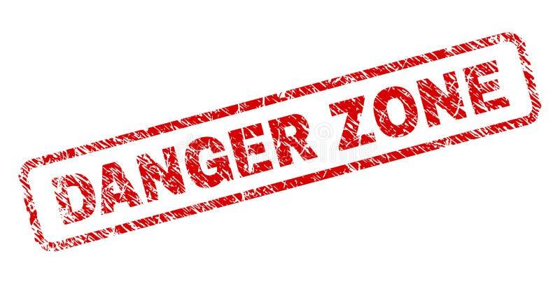 A ZONA de PERIGO do Grunge arredondou o selo do retângulo ilustração do vetor